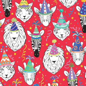 "Caspari Safari Birthday Gift Wrapping Paper in Red - 30"" x 5' Roll"