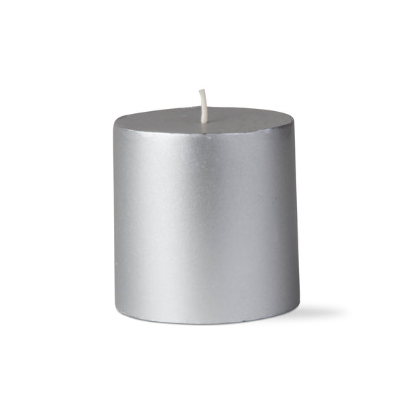 Metallic Pillar Candle – 3x3 – Silver