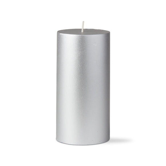 Metallic Pillar Candle – 3x6 – Silver