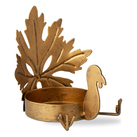 Turkey Leaf Pillar Holder – Antique Gold