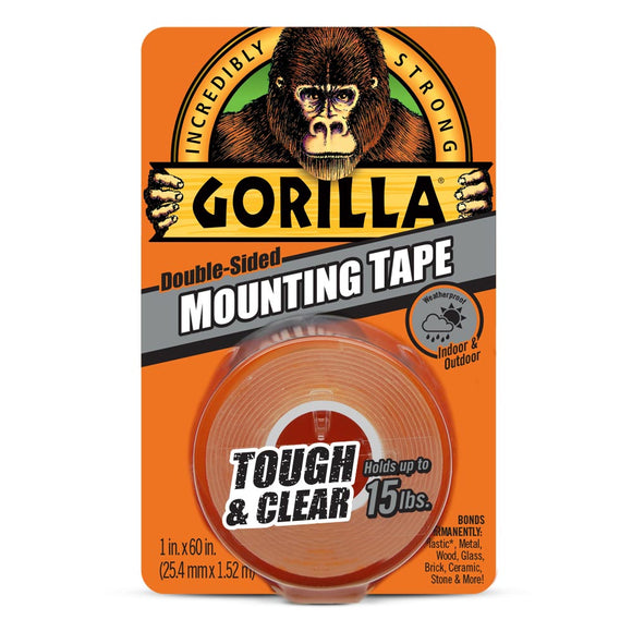 Gorilla Double-Sided Mounting Tape, Clear, 1 in. x 60 in.
