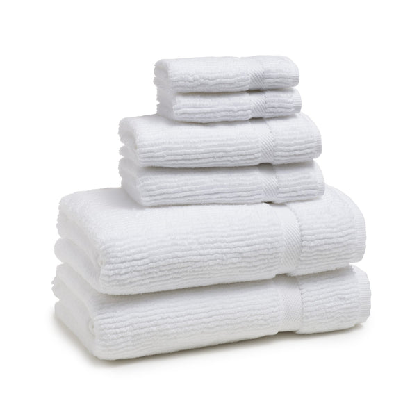 Kassatex Mateo Ribbed Towels – White