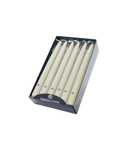 Colonial Candle Handipt Taper, Ivory, 10 inch, Box of 12