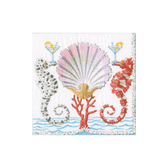 Caspari Seahorses and Shell Cocktail Napkins - 20pk