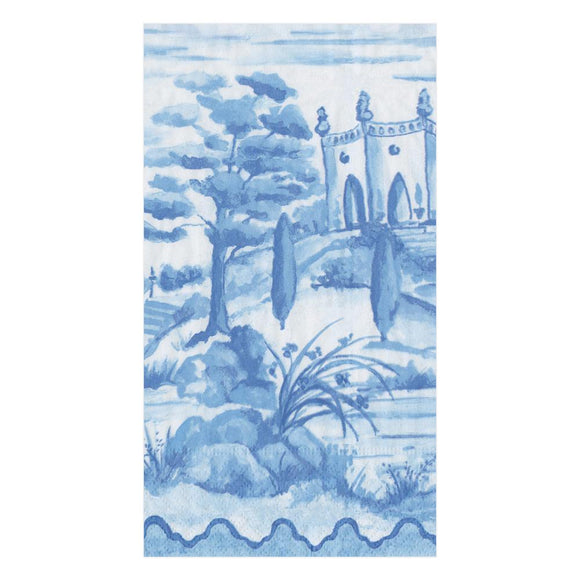 Caspari Tuscan Toile in Blue Guest Towels - 15pk
