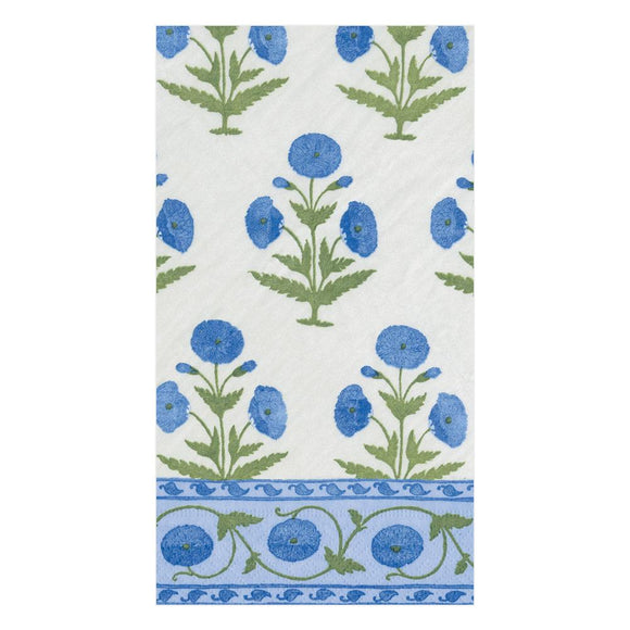Caspari Indian Poppy in Blue Guest Towels - 15pk