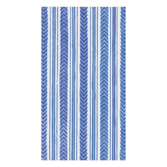 Caspari Carmen Stripe in Blue Guest Towels - 15pk