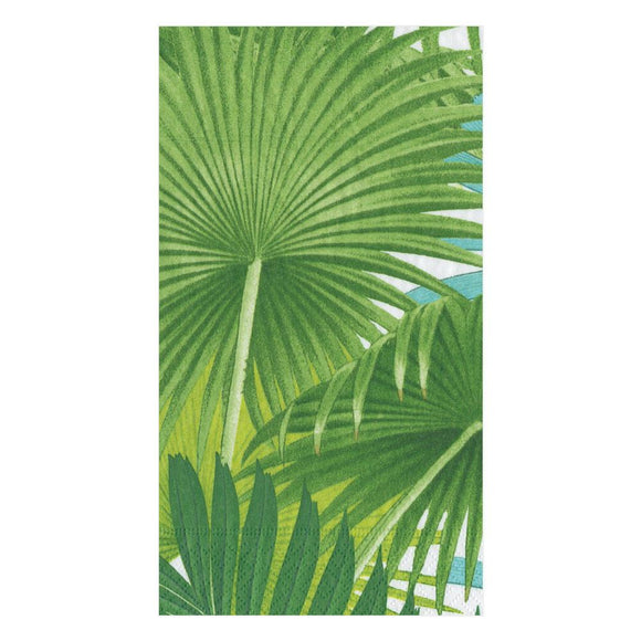 Caspari Palm Fronds in White Guest Towels - 15pk
