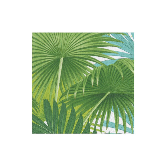Caspari Palm Fronds in White Cocktail Napkins - 20pk