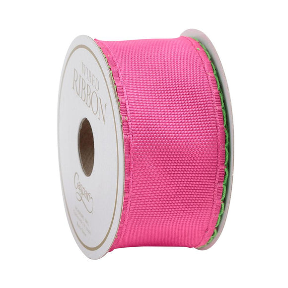 Caspari Fuchsia Scallop Edge Wired Ribbon - 6 Yard Spool