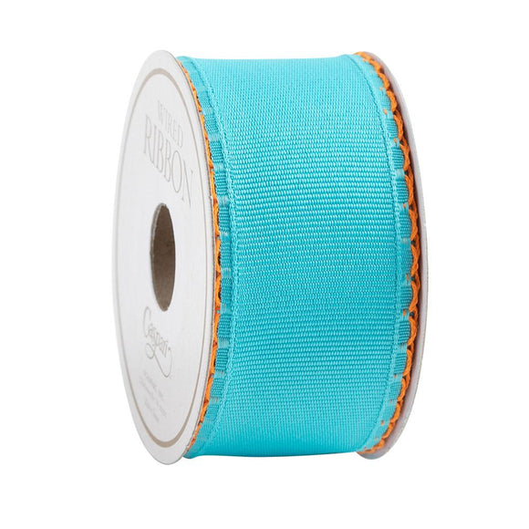 Caspari Turquoise Scallop Edge Wired Ribbon - 6 Yard Spool