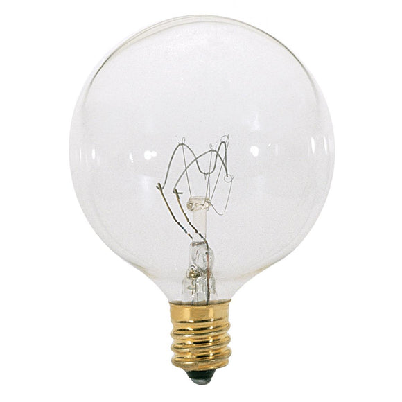 G16 1/2 Incandescent Globe Light Bulb – Candelabra Base – Clear
