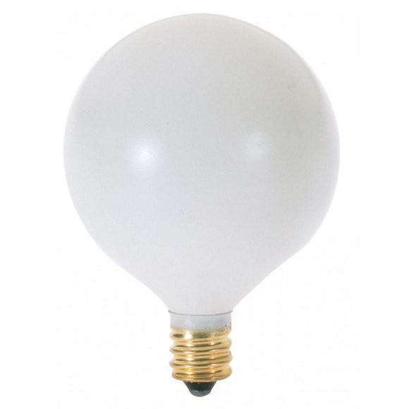 G16 1/2 Incandescent Globe Light Bulb – Candelabra Base – Satin White
