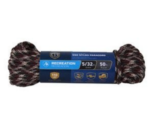Paracord 550 Nylon Rope – Camouflage – 5/32-In. x 50-Ft