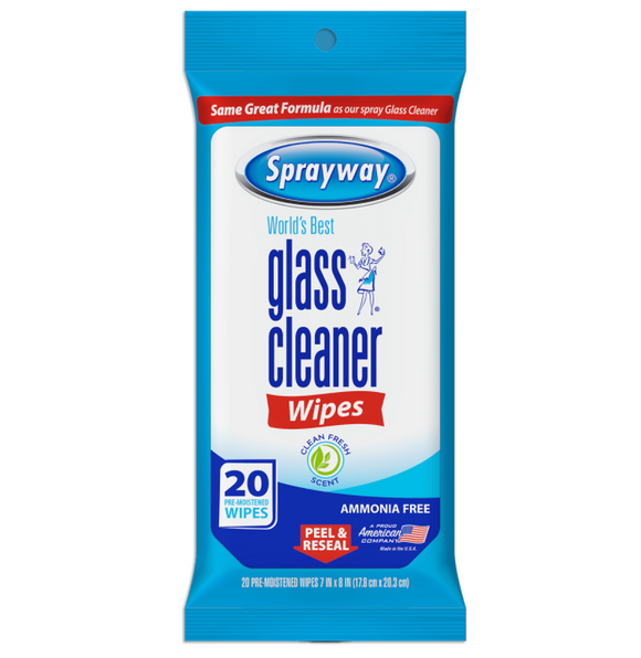 Sprayway Glass Cleaner Wipes – Pack of 20