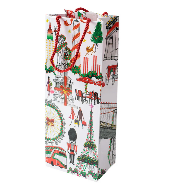 Caspari Cosmopolitan Christmas Wine & Bottle Gift Bag