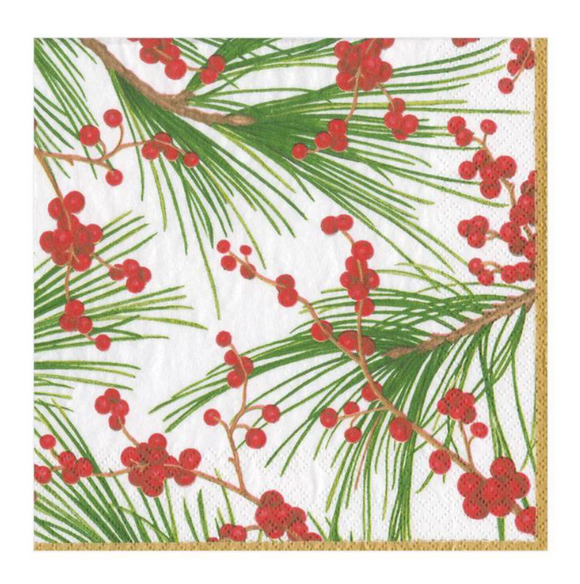 Caspari Berries and Pine Cocktail Napkins - 20pk