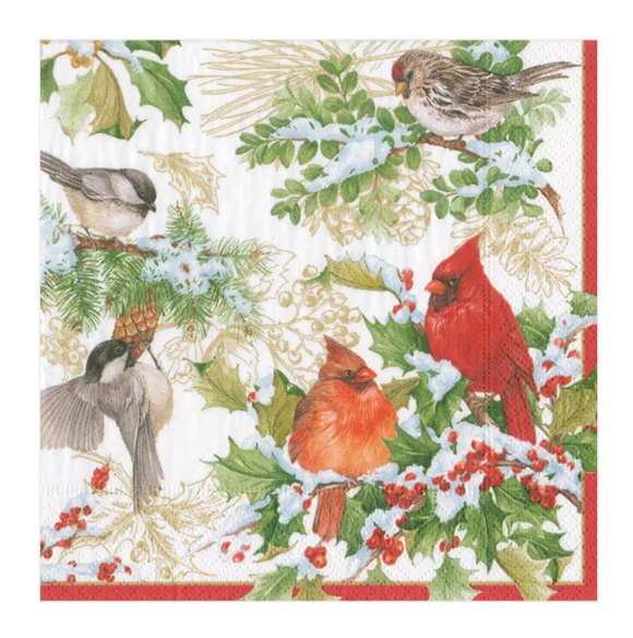 Caspari Christmas Birds and Greenery Cocktail Napkins - 20pk