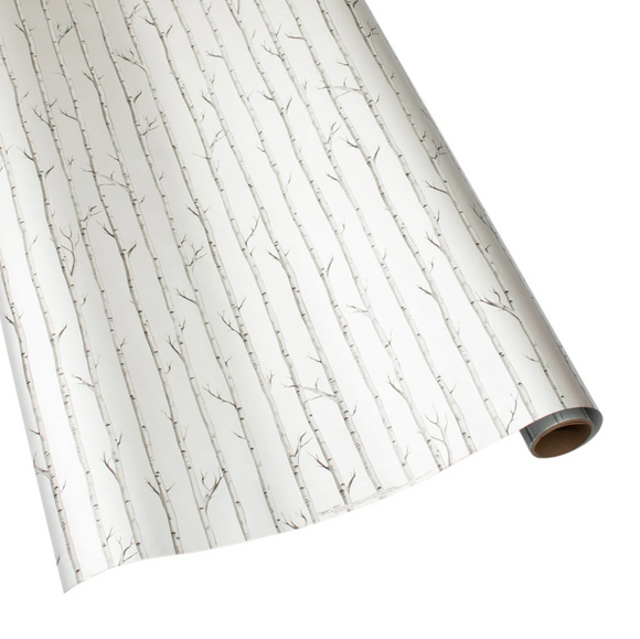Birch Gift Wrapping Paper in Silver Foil - 30
