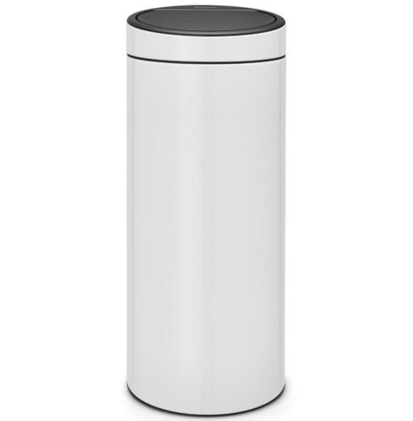 Brabantia Touch Bin Trash Can – White – 8 Gallon