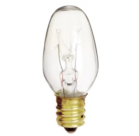 7 Watt Dimmable C7 Candelabra (E12) Incandescent Bulbs  – 2 pk