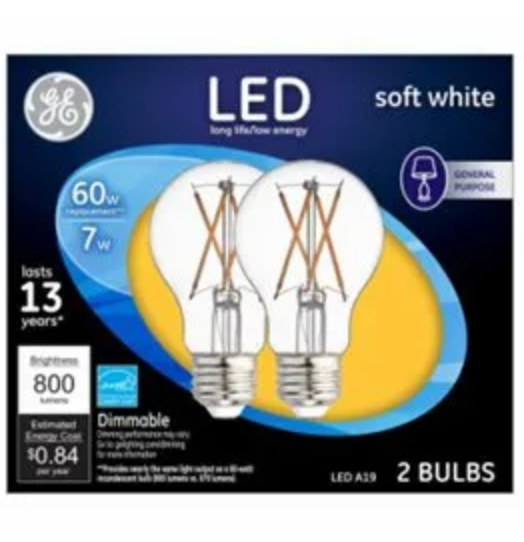 GE LED Clear 60W Equivalent A19 Light Bulbs - 2-Pk
