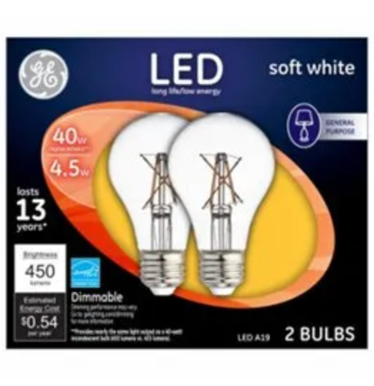 GE LED Clear 40W Equivalent A19 Light Bulbs - 2-Pk