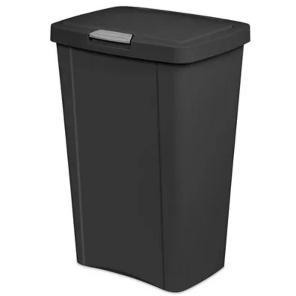 Touch Top Kitchen Wastebasket –  Black – 13-Gal.