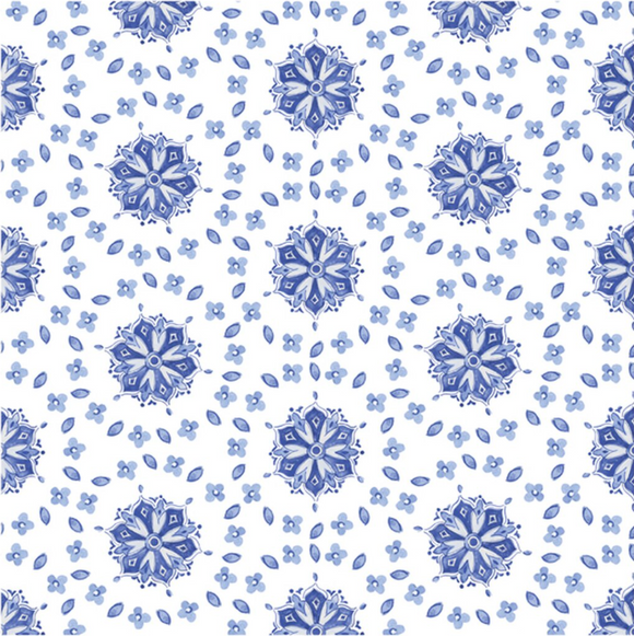 Le Cadeaux Moroccan Blue Tablecloth - Available in Two Sizes