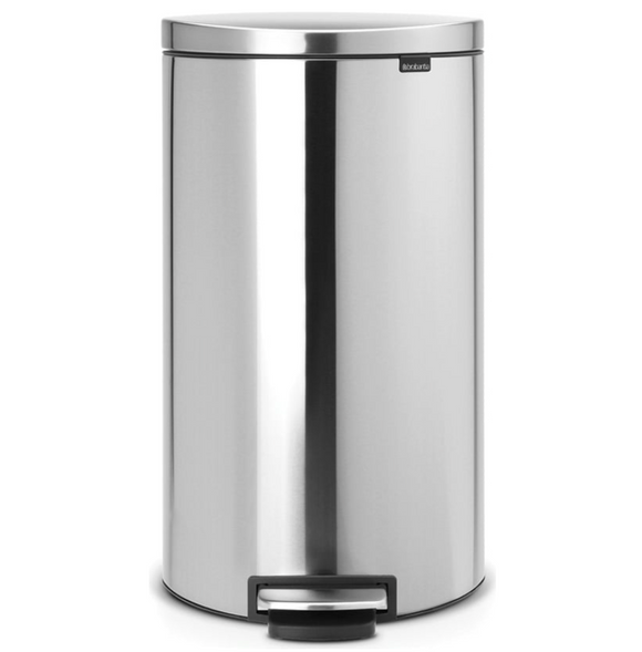 Brabantia Flatback Step Trash Can – Matt Steel Fingerprint Proof – 40L
