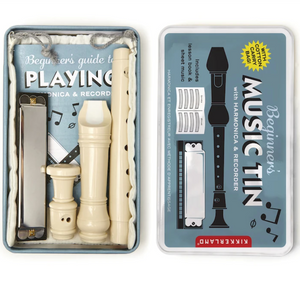 Music Box Tin - Includes a Recorder and Harmonica With Instructions