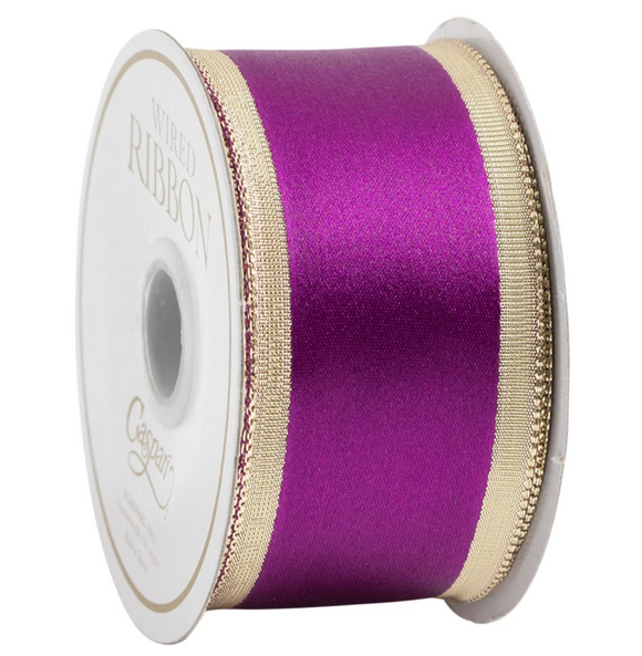 Caspari Solid Purple & Gold Wired Ribbon - 9 Yard Spool