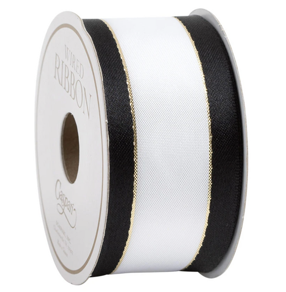 Caspari White With Black Border Wired Ribbon - 8 Yard Spool