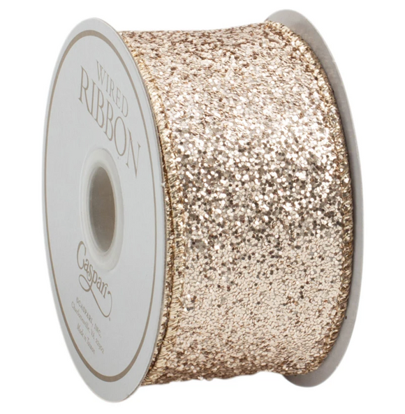 Caspari Champagne Glitter Wired Ribbon - 5 Yard Spool