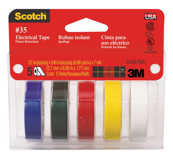 Assorted Colors Electrical Tape – 5 Pack