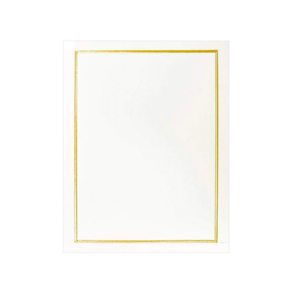 Caspari Embossed Gift Enclosure Cards in Gold Borders - 4pk