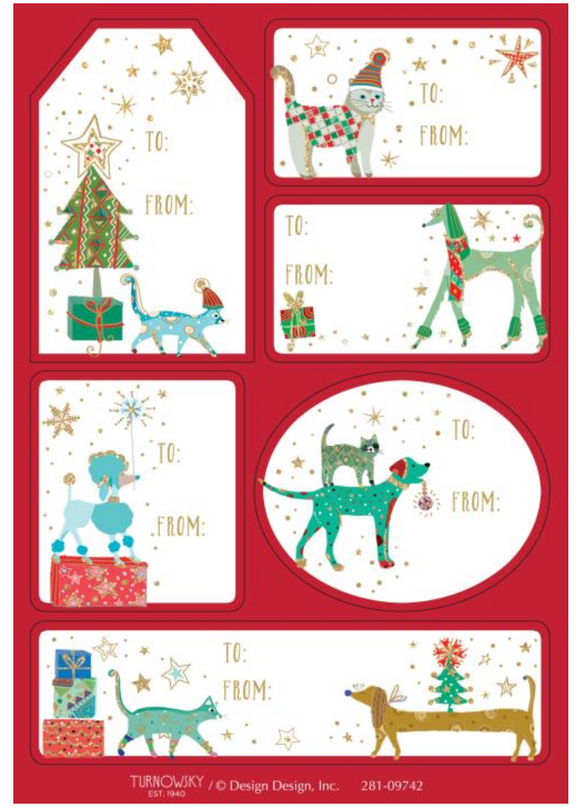 Design Design Christmas Dogs And Cats Adhesive Gift Labels – 36 Pack