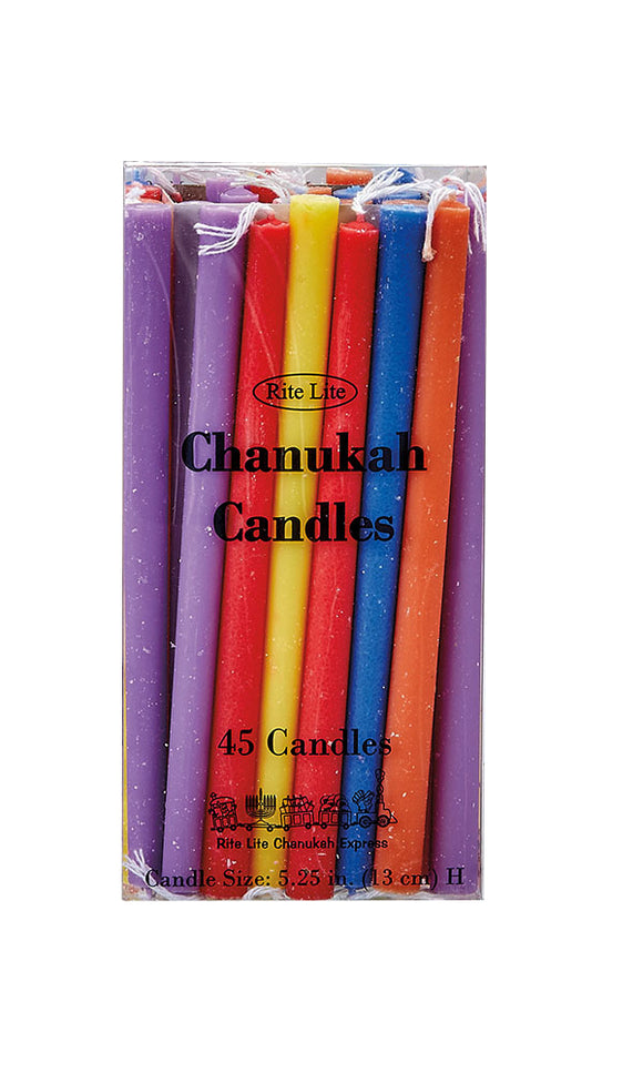 Rite Lite Deluxe Chanukah Candles – Assorted Colors – 45 pack