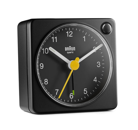 Braun Classic Travel Analogue Alarm Clock – Black/Black