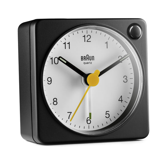 Braun Classic Travel Analogue Alarm Clock – Black/White