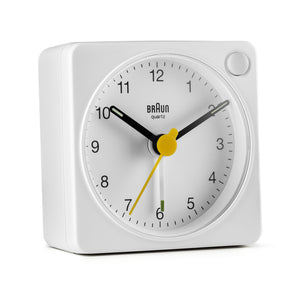 Braun Classic Travel Analogue Alarm Clock – White/White