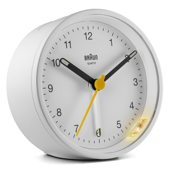Braun Classic Alarm Analogue Clock – White/White