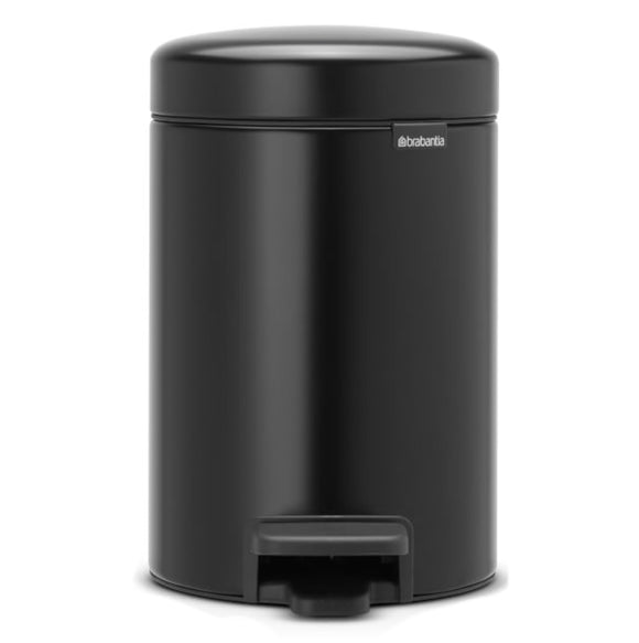 Brabantia NewIcon Step Trash Can – Matt Black – 0.8 Gal