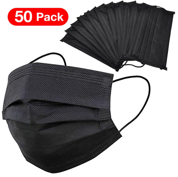 Disposable Face Mask – Black – Box of 50