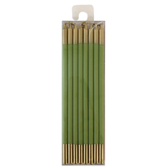 Slim Birthday Candles in Moss Green & Gold – 6