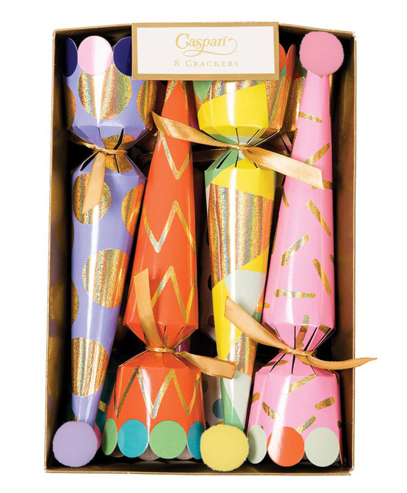 Caspari Party Hats Cone Celebration Crackers – 8 Pack