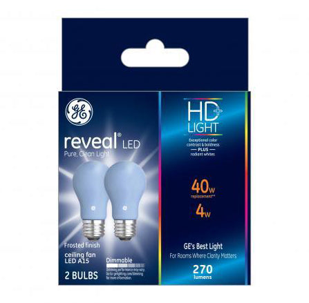 GE Reveal HD+ 40W Replacement LED Light Bulbs White Medium Base A15 - 2 pk