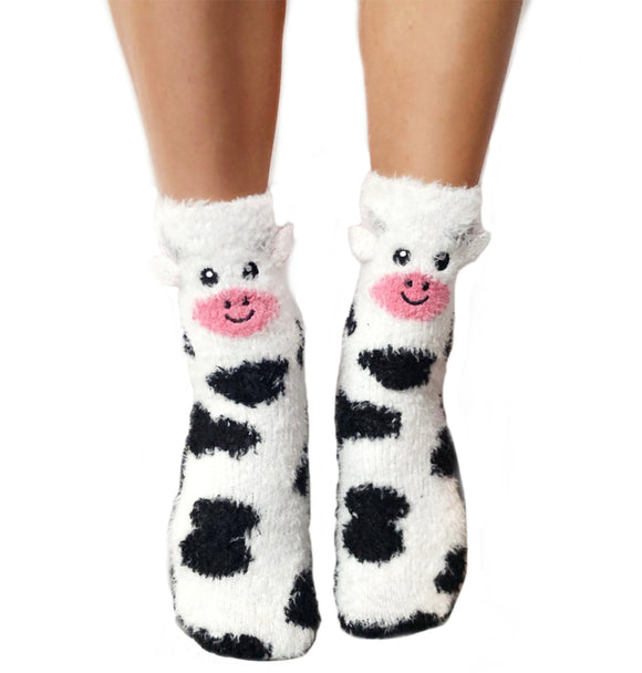 Living Royal Fuzzy Crew Sock – Cow