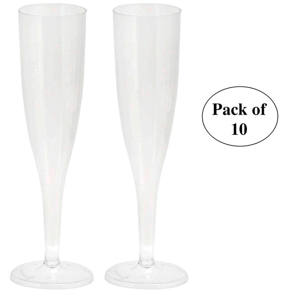 Plastic Disposable Champagne Flutes – Pack of 10