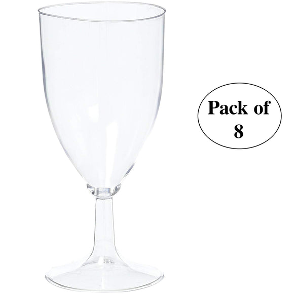Plastic Disposable Wine Glasses – Pack of 8